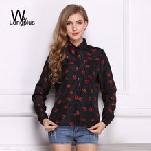 2016 Spring New Fashion Women's Blouses Red Lips Print Chiffon Casual Lady Shirt White Stand Collar Button Long Sleeve Blouse(China (Mainland))