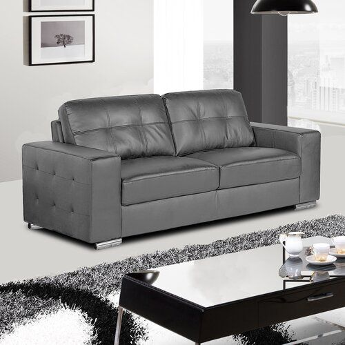 Otterburn 3 Seater Sofa Wade Logan Upholstery Colour Dark Grey In 2020 Couch With Ottoman Leather Sofa Set Leather Sofa