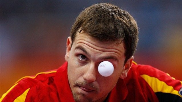 Eye on the ball in Beijing 2008  Timo Boll of Germany competes in the Table Tennis event at the Peking University Gymnasium during Day 6 of the Beijing 2008 Olympic Games