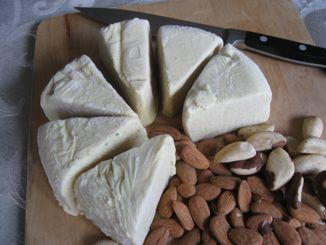 Almond mozzarella cheese... If you think you can't give up dairy because you love cheese, try my nut cheese recipes. This one is made from almonds. It makes a lot of cheese. I freeze it and only use a little at a time.