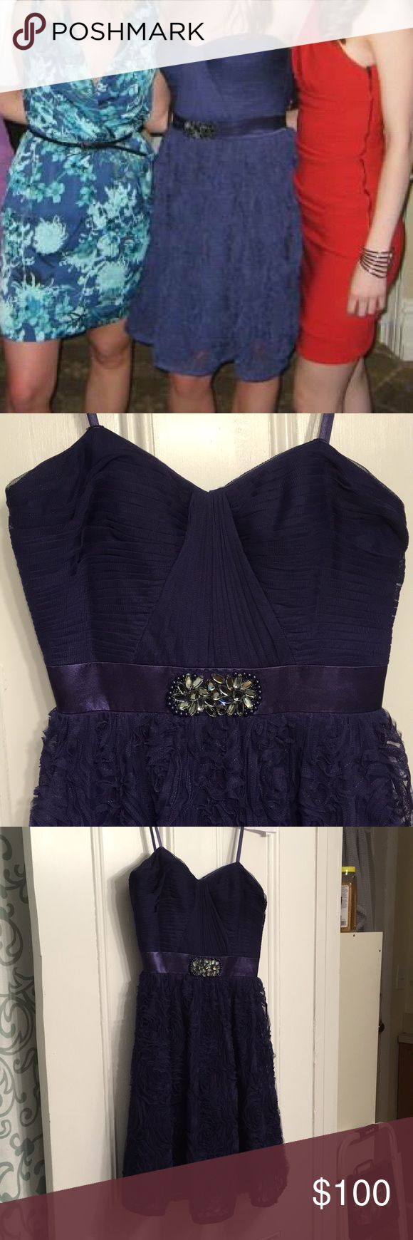 Gorgeous purple Adrianna Papell dress. Purple strapless A-line dress with a pretty embellishment that defines your waist.  The skirt is full and the top is structured and supportive.  Great for a wedding, gala or formal event. Adrianna Papell Dresses Strapless