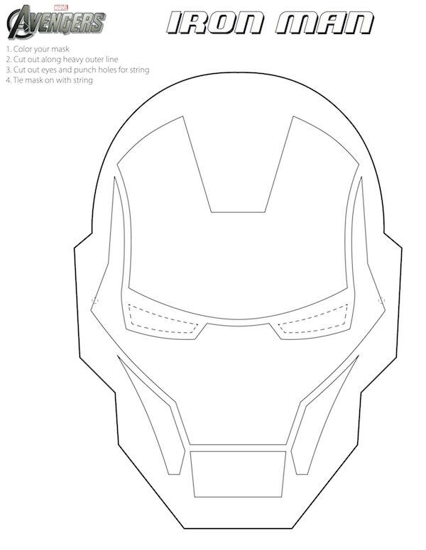 Free Printable Halloween Masks for Kids - Iron Man mask to color.
