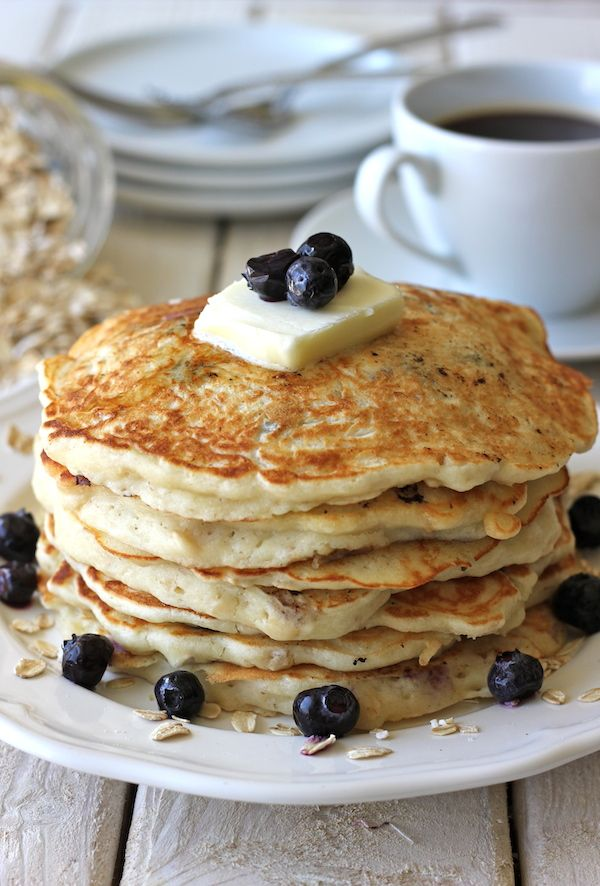 Start your day with a stack of blueberry oatmeal yogurt pancakes.