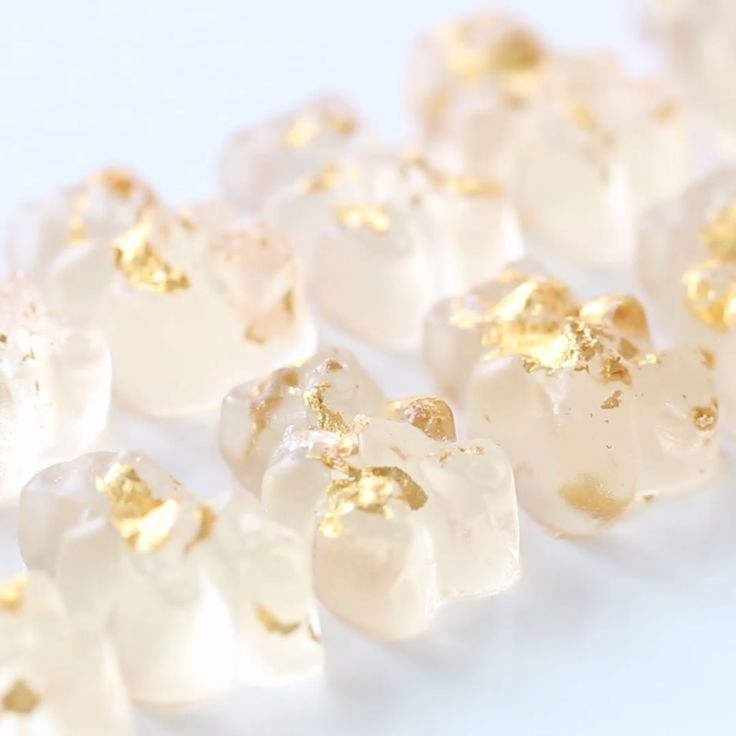 Gummy bears made from champagne and decorated with edible gold leaf!