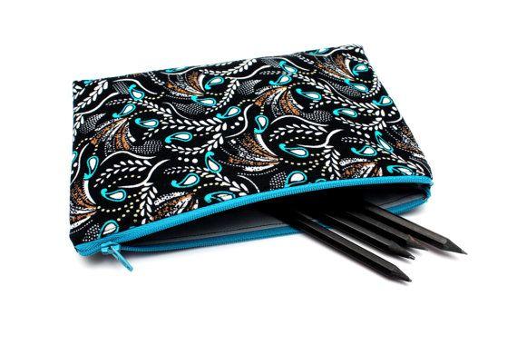Sale! Floral Pencilcase / Makeup Bag, Cute Pouch with One Pocket and blue Zipper 21cm x 14.2cm