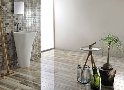 In this image: Beige and Mixed Mosaic