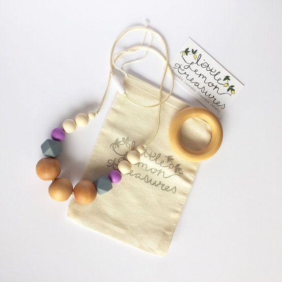 Natural Teething Necklace Nursing Necklace by LittleLemonTreasures, lavender color :)