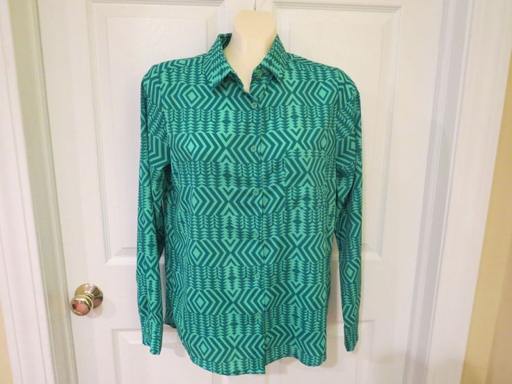 70% OFF EVERYTHING, 1 DAY ONLY, ENDS SUNDAY!!   Collective Concepts Greens Button Down Blouse Size Med. NICE! #CollectiveConcepts #ButtonDownBlouse #Any