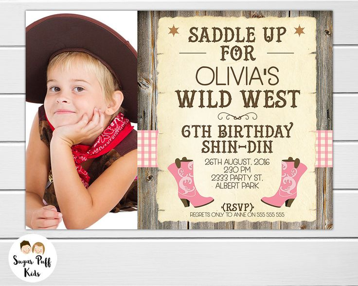 Photo Cowgirl Boots Birthday Invitation, Western Birthday Invitation Girl, Personalized Cowgirl Birthday Invitation, Cowgirl birthday invite by SugarPuffKids on Etsy