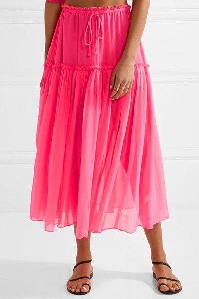 APIECE APART - Dulce Pleated Silk-crepon Midi Skirt - Bright pink - US10