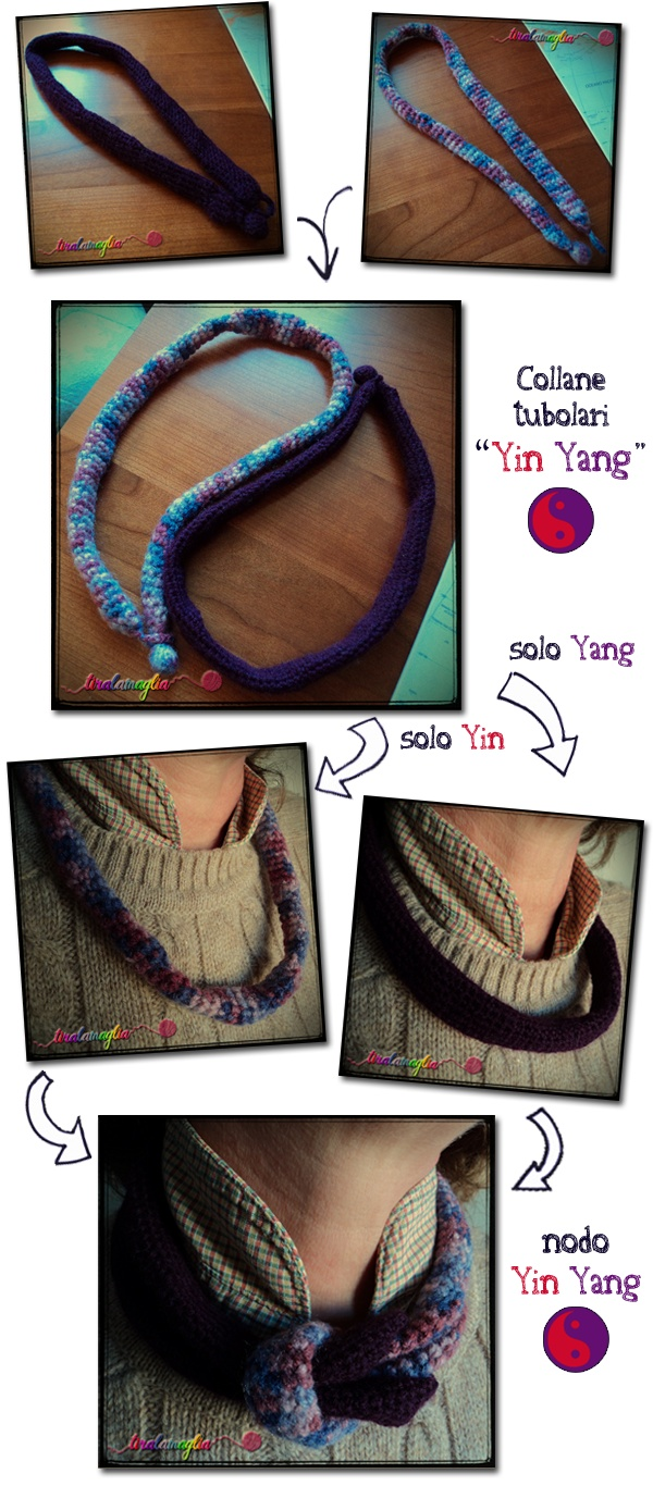 """Yin Yang"" tubular crochet necklace: a Tiralamaglia's wool idea.  La mia doppia collana tubolare ""Yin Yang"", una creazione di Tiralamaglia.  > http://tiralamaglia.blogspot.it/2012/02/collane-tubolari-yin-yang-alluncinetto.html"