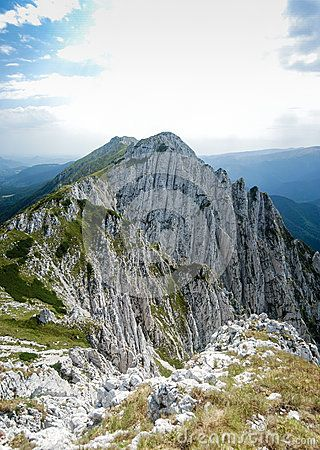 A rocky footpath in the high Transylvanian Alps Mountains.