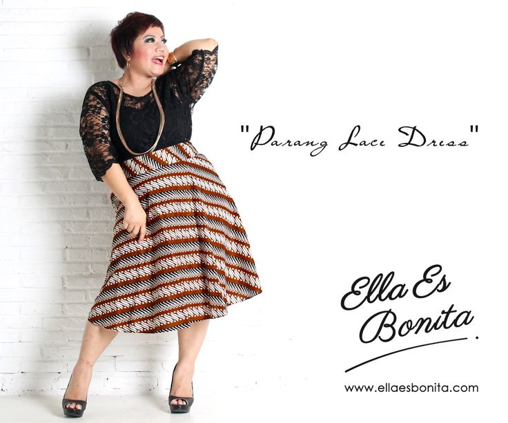 Parang Lace Dress - This vintage batik lace dress features high quality brocade lace for the tops and batik cotton for the skirt which specially designed for sophisticated curvy women originally made by Indonesian Designer & Local Brand: Ella Es Bonita. Available at www.ellaesbonita.com