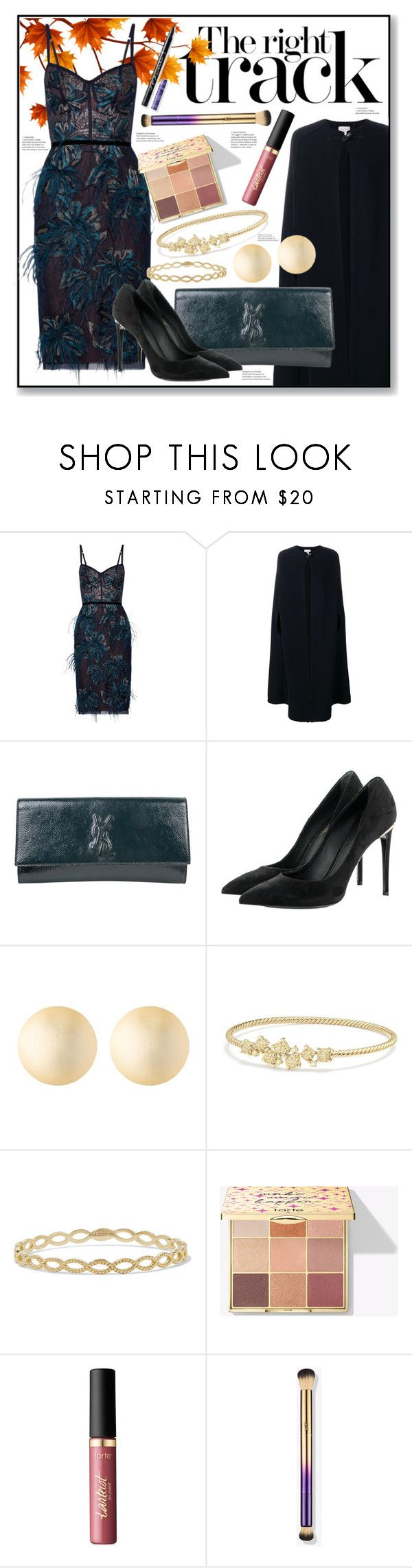 """The Right Dress"" by piloariass ❤ liked on Polyvore featuring Notte by Marchesa, Forte Forte, Yves Saint Laurent, Louis Vuitton, Alexis Bittar, David Yurman, Grace Lee Designs and tarte"
