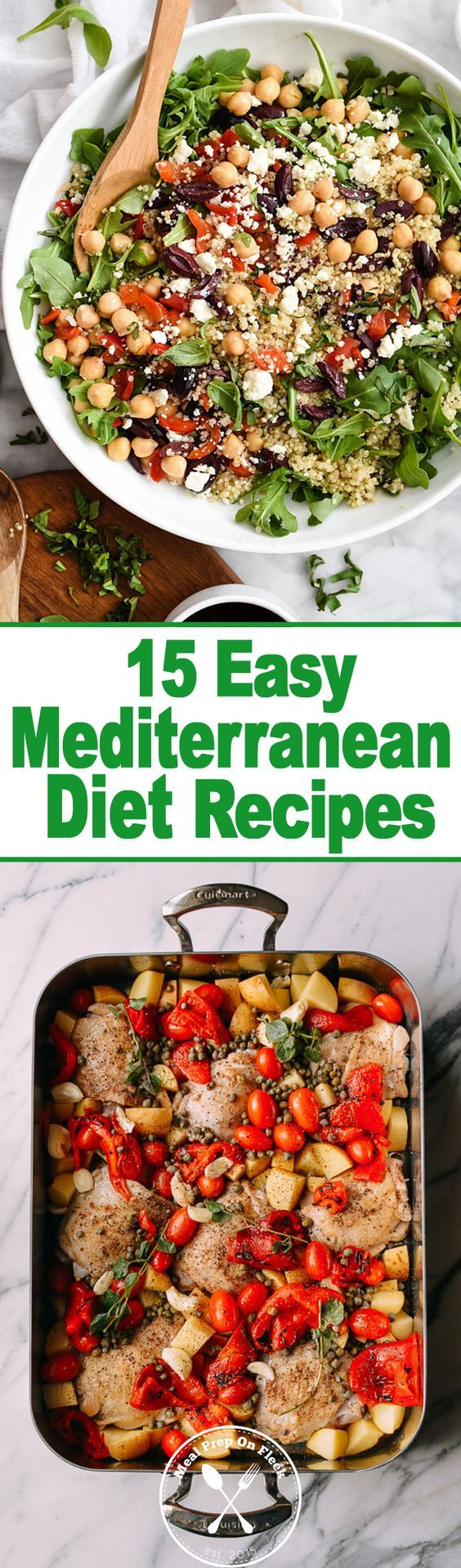 The Mediterranean Diet is all about eating wholesome! Lots of olive oil, whole grains, fresh fruit and vegetables, beans and fish!