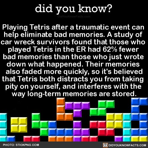Playing Tetris after a traumatic event can help eliminate bad memories. A study of car wreck survivors found that those who played Tetris in the ER had 62% fewer bad memories than those who just wrote down what happened. Their memories also faded...