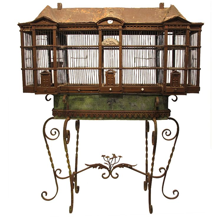 French birdcage on stand, 19th century.