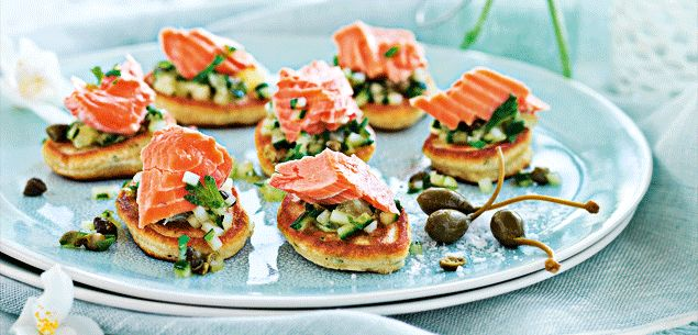 Recipe - Wasabi pikelets and salmon with lime and cucumber salsa - Entertaining - Food & recipes - Recipes - New Zealand Woman's Weekly