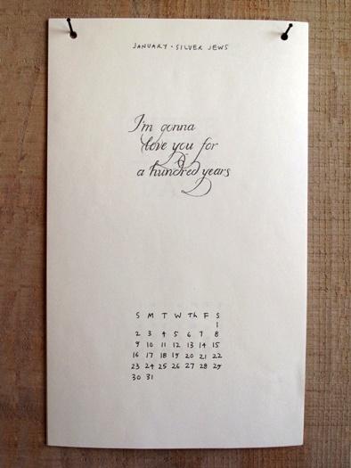 Song lyrics calendar