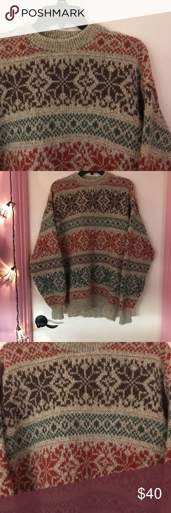 Anthropologie Fair Isle Wool Crewneck The warmest Anthropologie fair isle Crewneck would best fit a variety of sizes based on a desired look. Tag has been cut out. Received as a Christmas gift last year for a trip in a colder climate and it looks super cute with bean boots or sorel boots and jeans. A fabulous addition to your winter wardrobe. This is Crewneck looks like something Kiel James Patrick (KJP) would wear and sell. TBundle up! Anthropologie Sweaters Crew & Scoop Necks