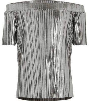 River Island Girls grey metallic pleated bardot top