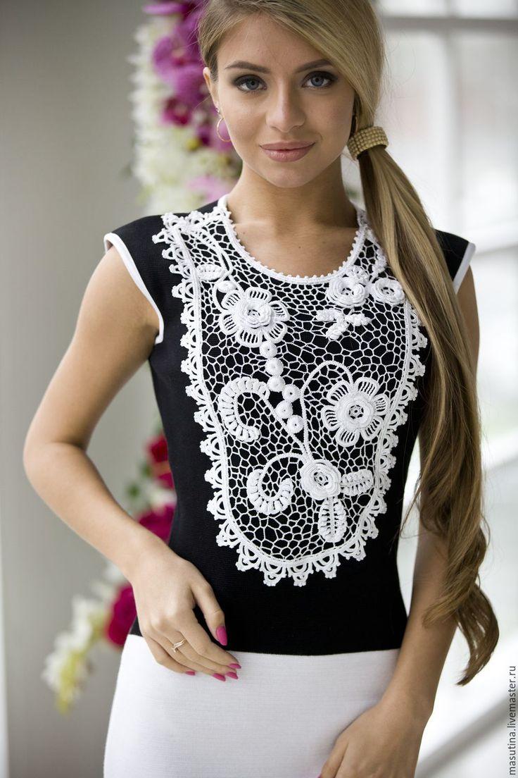 """Купить Платье """"Ирландия"""" - чёрно-белый, платье, платье на заказ, ирландское кружево, кружево крючком"""