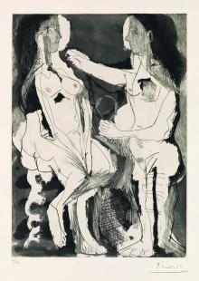 Pablo Picasso,  Femmes à leur toilette I (2° état), 1965,  acquatinta, acquaforte e puntasecca su carta Richard de Bas, cm 57,8x43,7