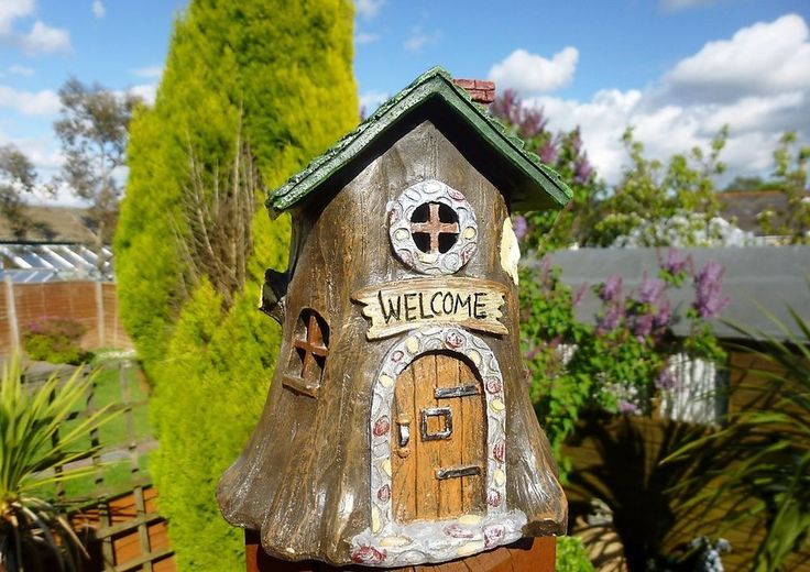 WELCOME COTTAGE & FAIRY HOUSE WITH LED LIGHTING ~ PIXIE ELF TREE TRUNK HOME