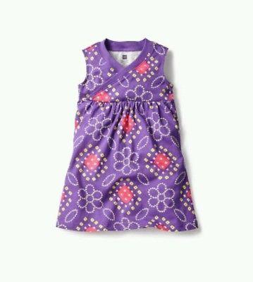 Girl's Tea Collection Bandhani Wrap Neck Dress Size 3 Tanzanite Purple INDIA