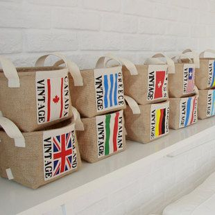 Natural Linen Eco Friendly Storage Basket, Storage Bin, Linen Recycle Storage Baskets. $14.00, via Etsy.