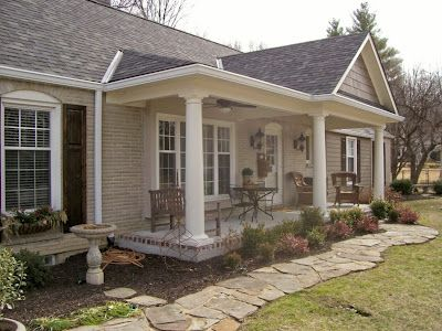 Front porch addition house reno projects pinterest for Ideas for covered back porch on single story ranch
