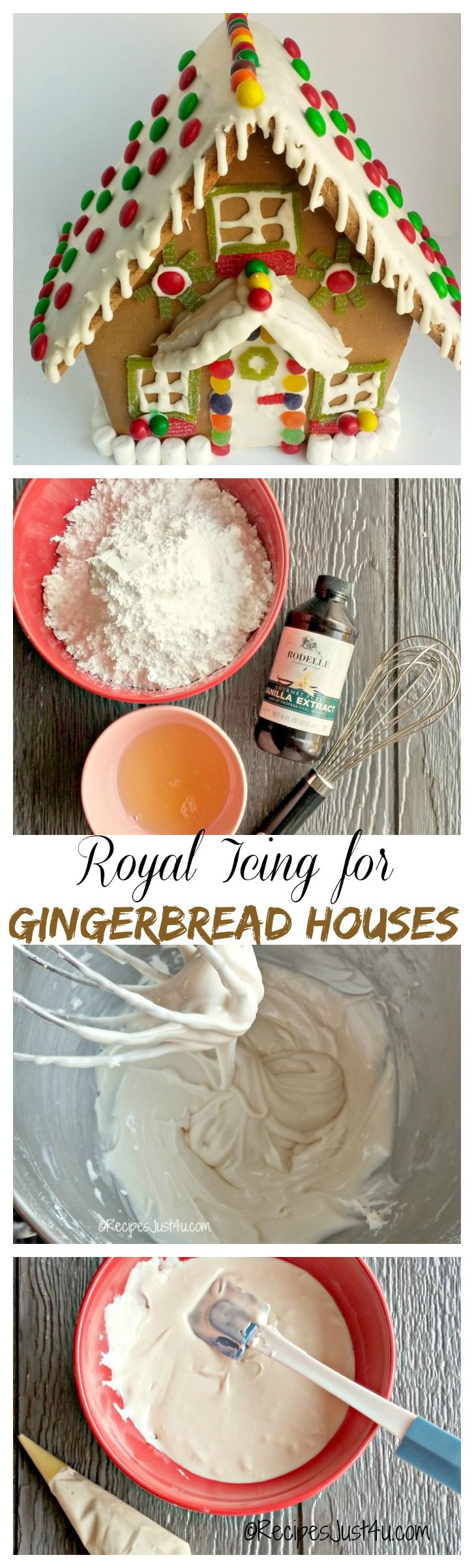 To make a great gingerbread house, you need an icing that holds well. This recipe for Royal icing is easy to make and perfect for the job.  recipesjust4u.com