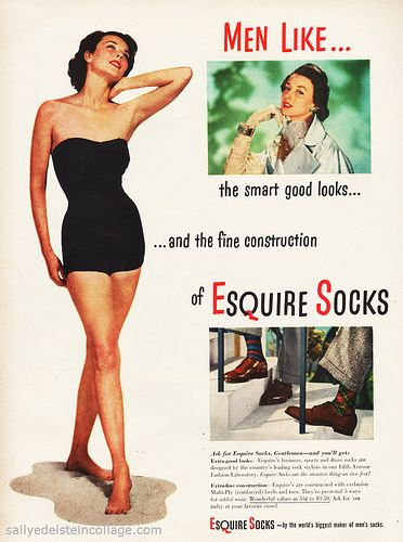 Many ads that featured womens products were advertised in a way that reflected the periodical belief that a woman must please her husband in every way. The ad above also promotes unnecessary bodily standards for women. The ad is for socks, yet it features a model in a bathing suit.