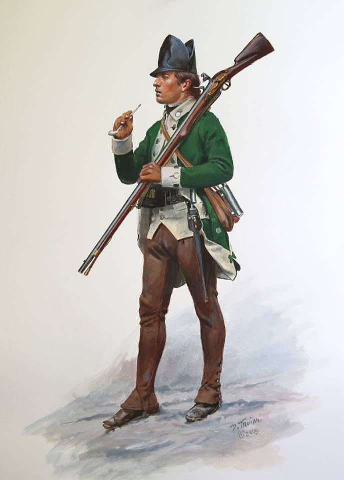 "Don Troiani Historical Artist This is a new Loyalist(Tory) figure just completed. It represents a private of Delancey's 1st Battalion in the winter of 1777-78. For those of you following the historically dreadful TV Series ""Turn"" , these were the troops (3rd Battalion) actually garrisoning Setauket. There were no British Regulars (redcoats) there, it was American Loyalists occupying the town. This is the winter uniform which consisted of brown woolen overalls and leather cap."