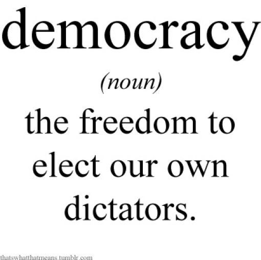 Democracy is two wolves and a sheep voting on what's for dinner. That's why we have a constitutional republic, to protect the rights of minority groups from the majority. In a Republic: The people are protected by the Bill of Rights from the majority. a Democracy is a dictatorship of the majority.