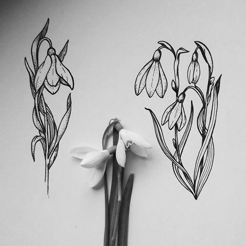 Image result for snowdrop flower tattoo #TattooIdeasFlower