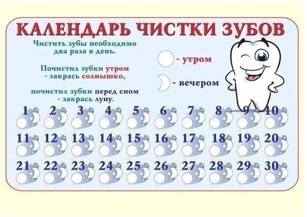 Календарь для чистки зубов