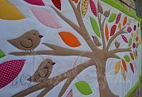 BQ zöld-narancs fa, green orange tree, walldecor, kidsroom design, treequilt
