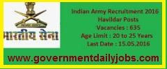 INDIAN ARMY RECRUITMENT 2016 APPLY ONLINE FOR 635 HAVILDAR EDUCATION POSTS ~ Government Daily Jobs