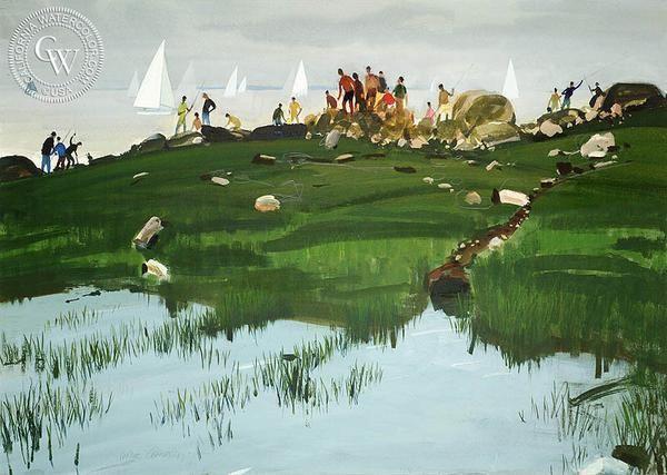 Holiday, (Westport), 1976, California art by Hardie Gramatky. HD giclee art prints for sale at CaliforniaWatercolor.com - original California paintings, & premium giclee prints for sale