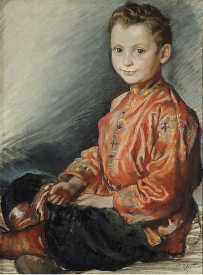 З. Серебрякова. Портрет мальчика Ю.И.Левитана, пастель, 1929. ГТГ
