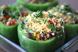 Quinoa and Black Bean stuffed peppers.