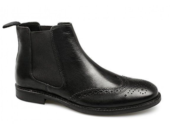 Red Tape BOYNE Mens Leather Ankle Slip On Wingtip Brogue Chelsea Boots Black UK