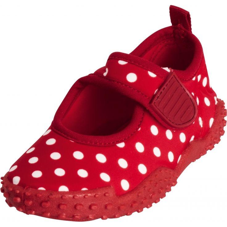 Meisjes waterschoenen rood met stippen. Deze waterschoentjes sluiten met klittenband en hebben een anti-slip zool. De schoentjes hebben UV-bescherming(UPF50+)en zijn PVC vrij. Materiaal: synthetisch. Let op, de schoentjes vallen 1 maat groter uit.