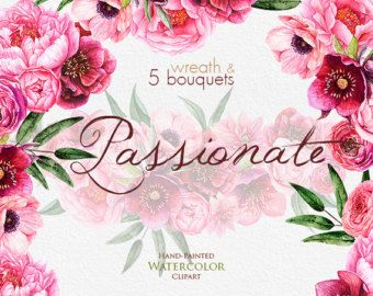 Watercolor Peonies, Roses, Anemones, Dahlias clipart, Fuchsia Bouquets and Wreath, Hand painted, Wedding Invitations, instant download