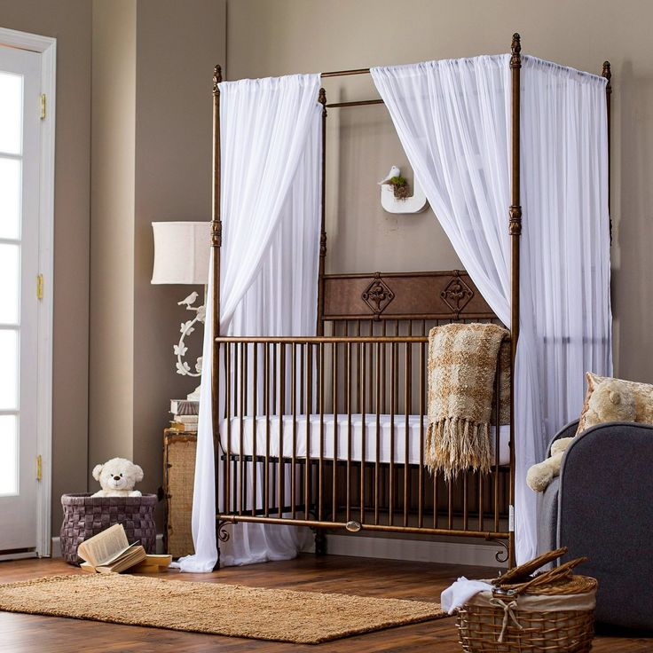 Cool Wrought Iron Indigo Bed Crib Come With Canopy Classic Style And Also White Fabric Canopy In Modern a part of under Bedroom & 40 best Some Safety Tips for Using Iron Cribs images on Pinterest ...