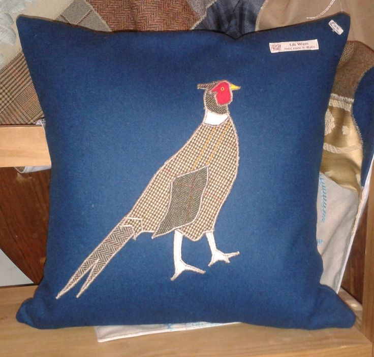 Hand made cushion featuring an appliqued pheasant. made using recycled fabrics. Available from www.mirandabowenanimalportraitsartist.co.uk