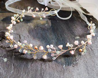 blush pearl hair vine crown Swarovski crystal by dazzlejewellery1