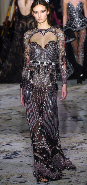Zuhair Murad sequinned evening dress for Oscars red carpet