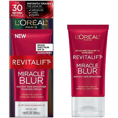 L'OrealRevitalift Miracle Blur Instant Skin Smoother Finishing Cream SPF 30, $25